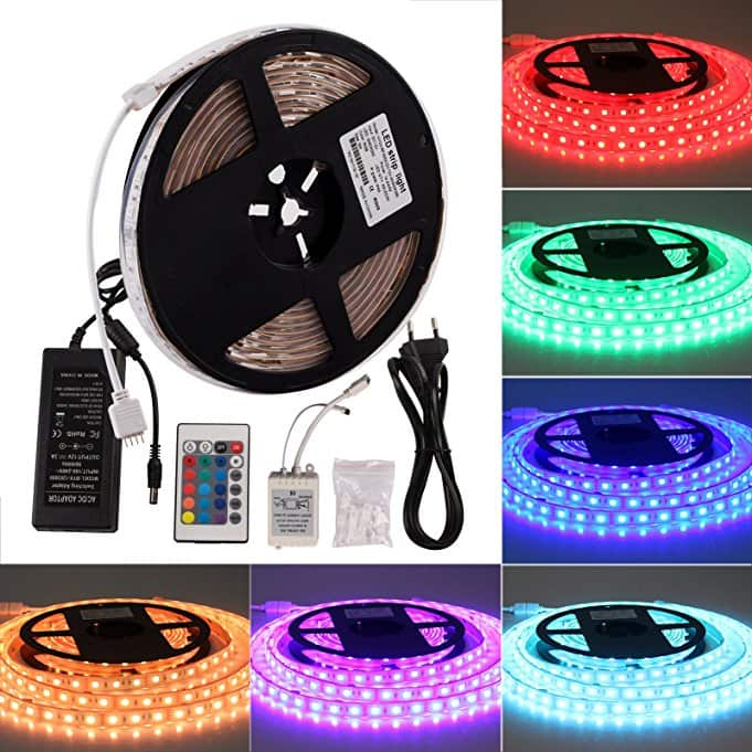 RGB 12V Indoor Color Changing LED Strip Lights with Controller and Power Supply $7.49 at Amazon.com