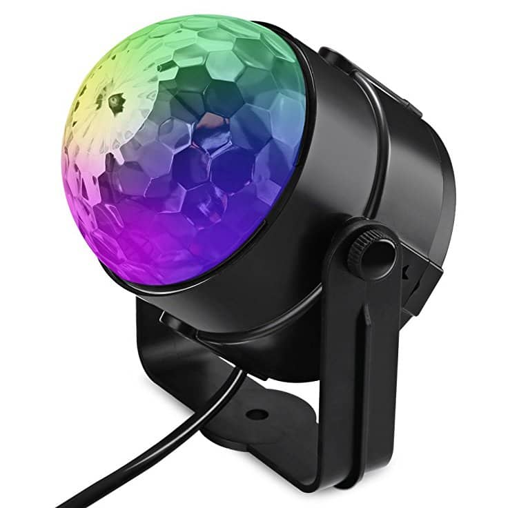 LED RGB Color Changing Stage Lights Voice Control Rotating Crystal Ball Disco Lamp - $3.95 Shipped