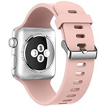 Alritz Apple Watch Band 42mm, Soft Silicone iWatch Replacement Band with Stainless Steel Buckle for $4.45 at Amazon.
