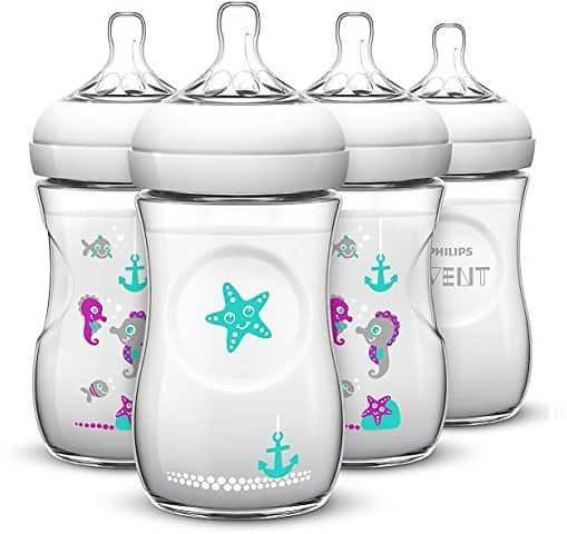 Philips AVENT 4 Piece Natural Baby Bottle with Seahorse Design, 9 Ounce, (4 Pack) for $23.9 at Amazon