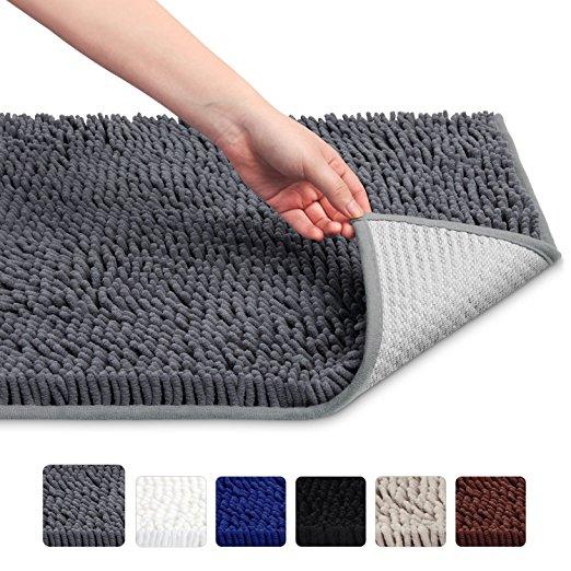 """32"""" x 20"""" Soft Microfiber Shag Bath Rug Absorbent Bathroom Mat (Grey) - $7.69 + FS w/Prime"""