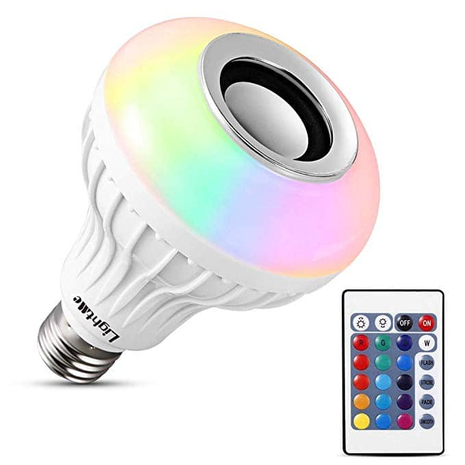 E27 RGB LED Light Bulb w/ Built-in Bluetooth Speaker + Remote Control for $5.2 @Amazon