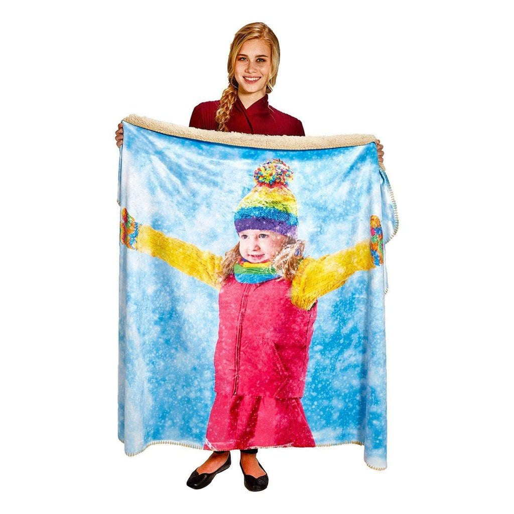 """Personalthrows: 50"""" x 60"""" Personalized Heavy Weight Photo Sherpa Throw Blanket for $42.05 w/ Free Shipping."""