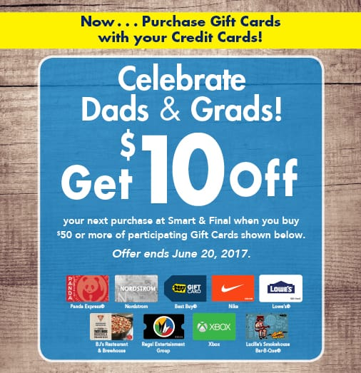 Smart and Final In-Store Offer: Buy $50 in Gift Cards and Get $10 Off Coupon on Next Purchase