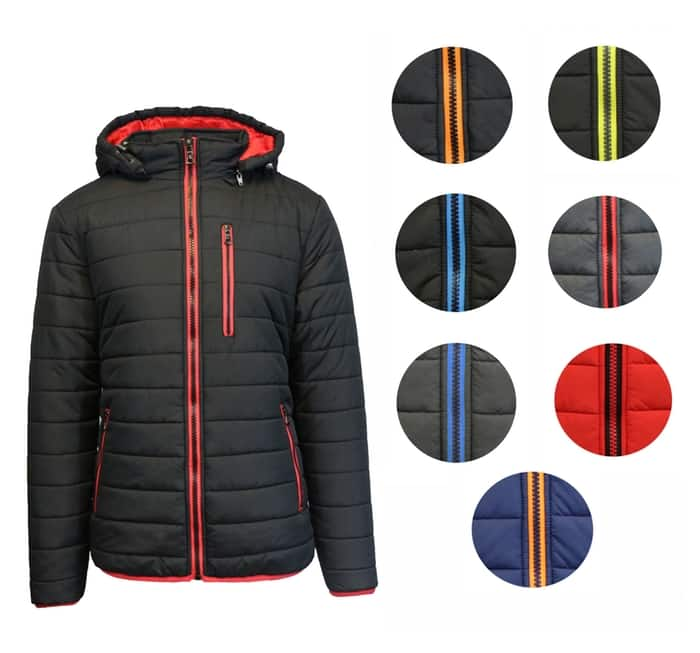 Men's Heavyweight Puffer Jacket with Contrast Lining and Zipper for $35 w/ free shipping on Tanga