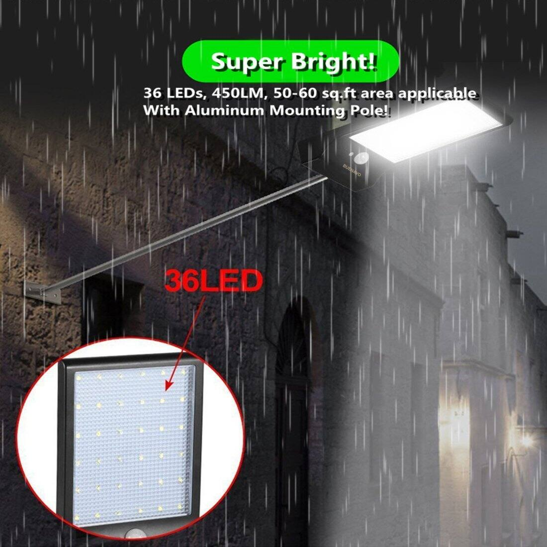 BuenaVo Outdoor Solar Light 36 LEDs 450LM Motion Sensor Flood Light With Aluminum Mounting Pole for $33.99 w/ free shipping on Amazon