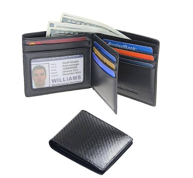 Mens RFID Blocking Bifold Slim Carbon Fiber Leather Wallets for $9.99 w/ free shipping on Amazon