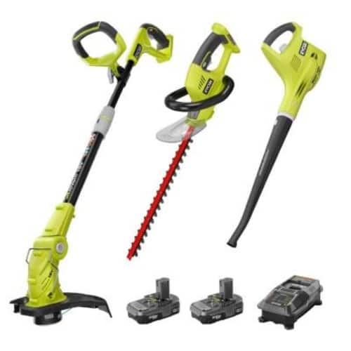RYOBI ONE+ 18-Volt Lithium-Ion Cordless Trimmer/Blower/Hedge Combo Kit - Two 1.3Ah Batteries and Charger Included $168.83