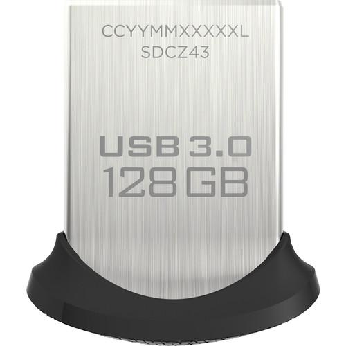 SanDisk - Ultra Fit 128GB USB 3.0 Type A Flash Drive - Black/Silver $27.99