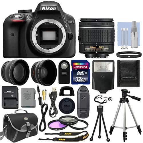 Nikon D3300 Digital SLR Camera Black + 3 Lens: 18-55mm Lens + 32GB Bundle $349.00