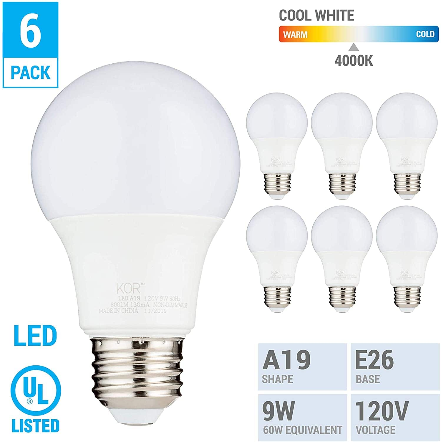 Save 50% OFF On a (6 PACK) 9W LED A19 Light Bulb - Equivalent to 60W - Non Dimmable - 800 Lumens - E26 Base - UL Listed - 15000 Hours $4.87