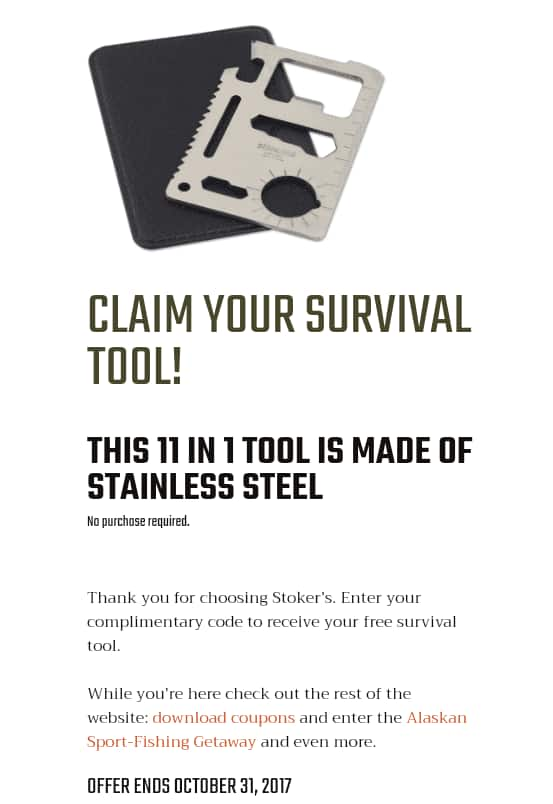 Stokers snuff 11 in 1 survival tool free with promo code