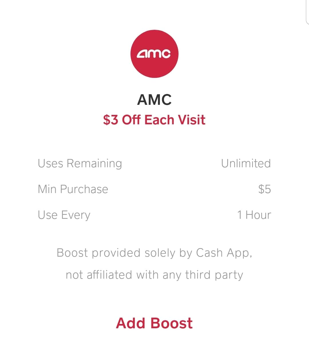 Cash app $3 unlimited AMC boost (Android and IOS)