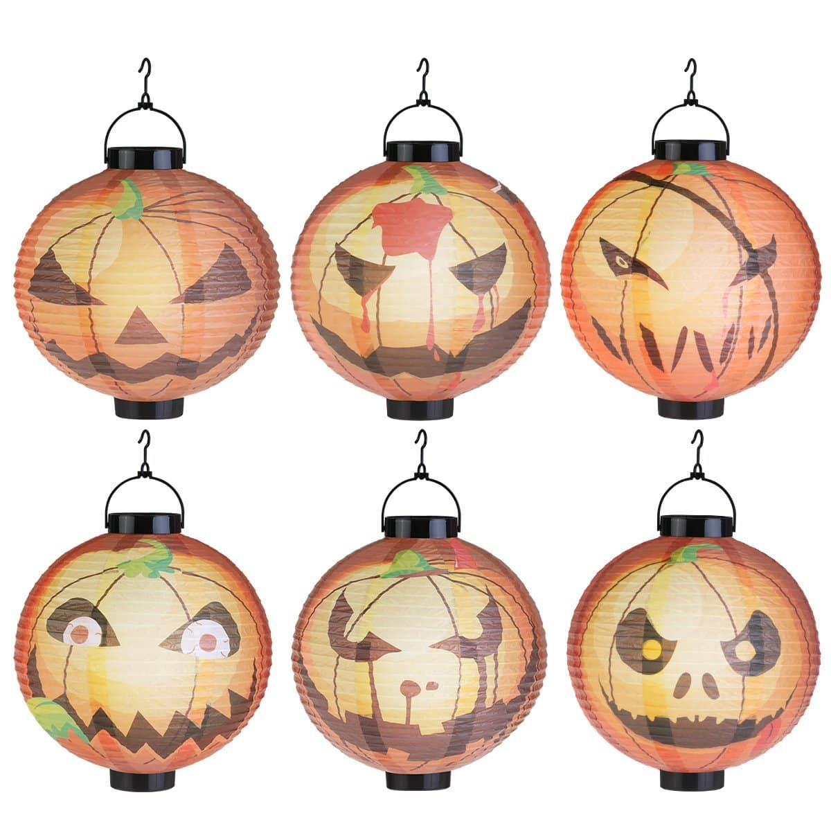 Halloween Hanging Pumpkin Lantern LED Lights 6 pack $7.19