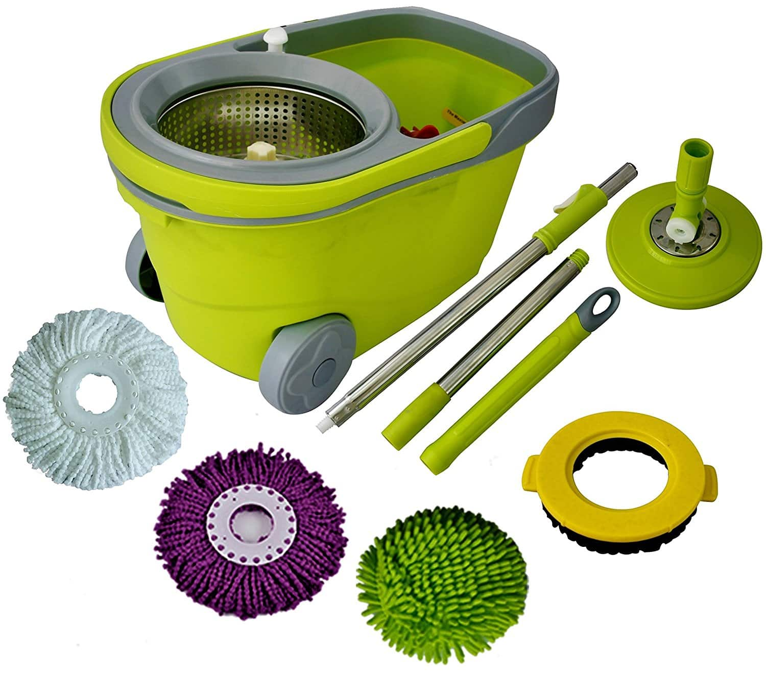 Spin Mop and Bucket Cleaning System with Microfiber Head $31.96