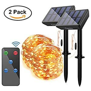 33ft LED Warm White String Lights, Solar Powered with Remote (single or 2 pack) $9.99