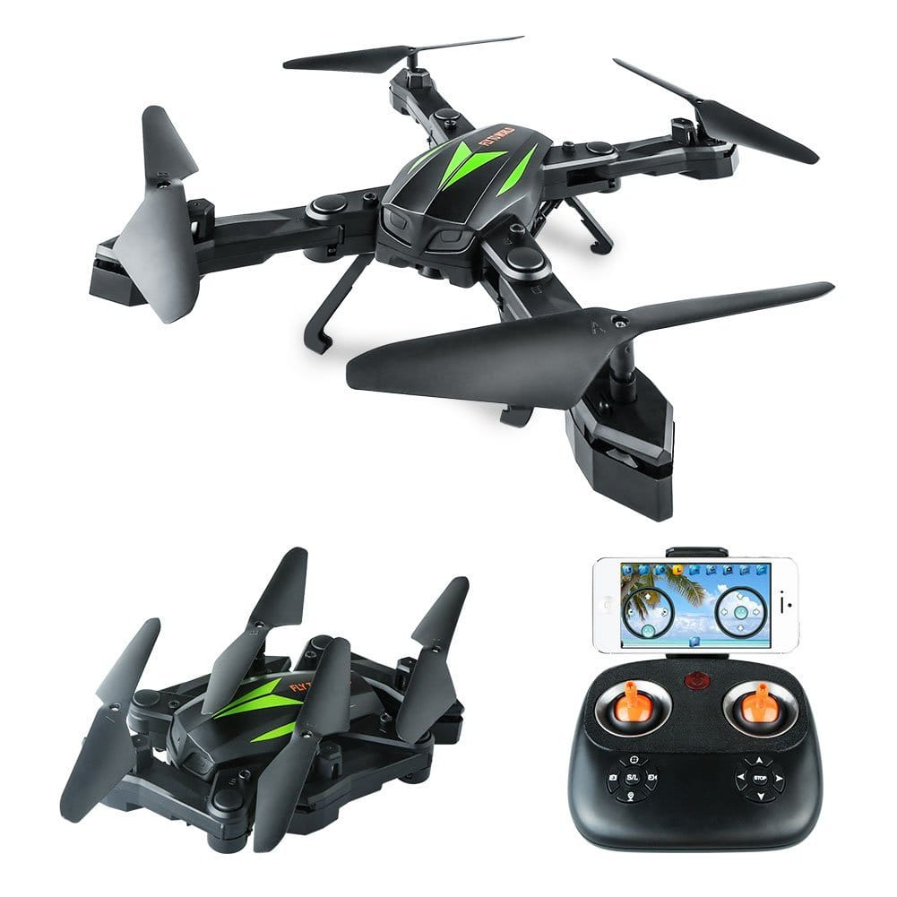 WiFi Foldable 6 Axis Quadcopter Drone with HD Camera and FPV App for $37.04 + Free Shipping