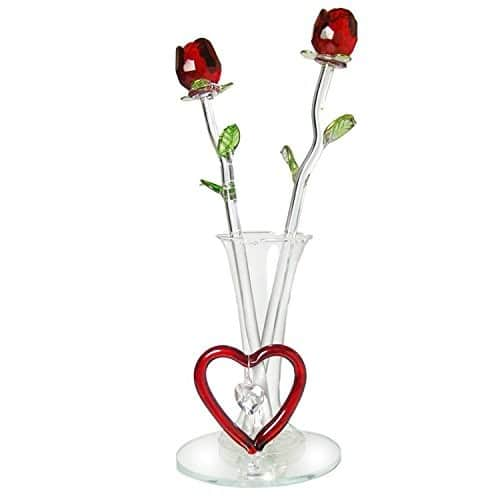 Forever Glass Rose Flowers   Valentines Day Gifts For Her on sale for $9.71