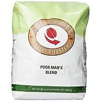 Coffee Bean Direct Poor Man's Blend, Whole Bean Coffee, 5-Pound Bag $  24.56 AC + 15% S&S  aMAZON