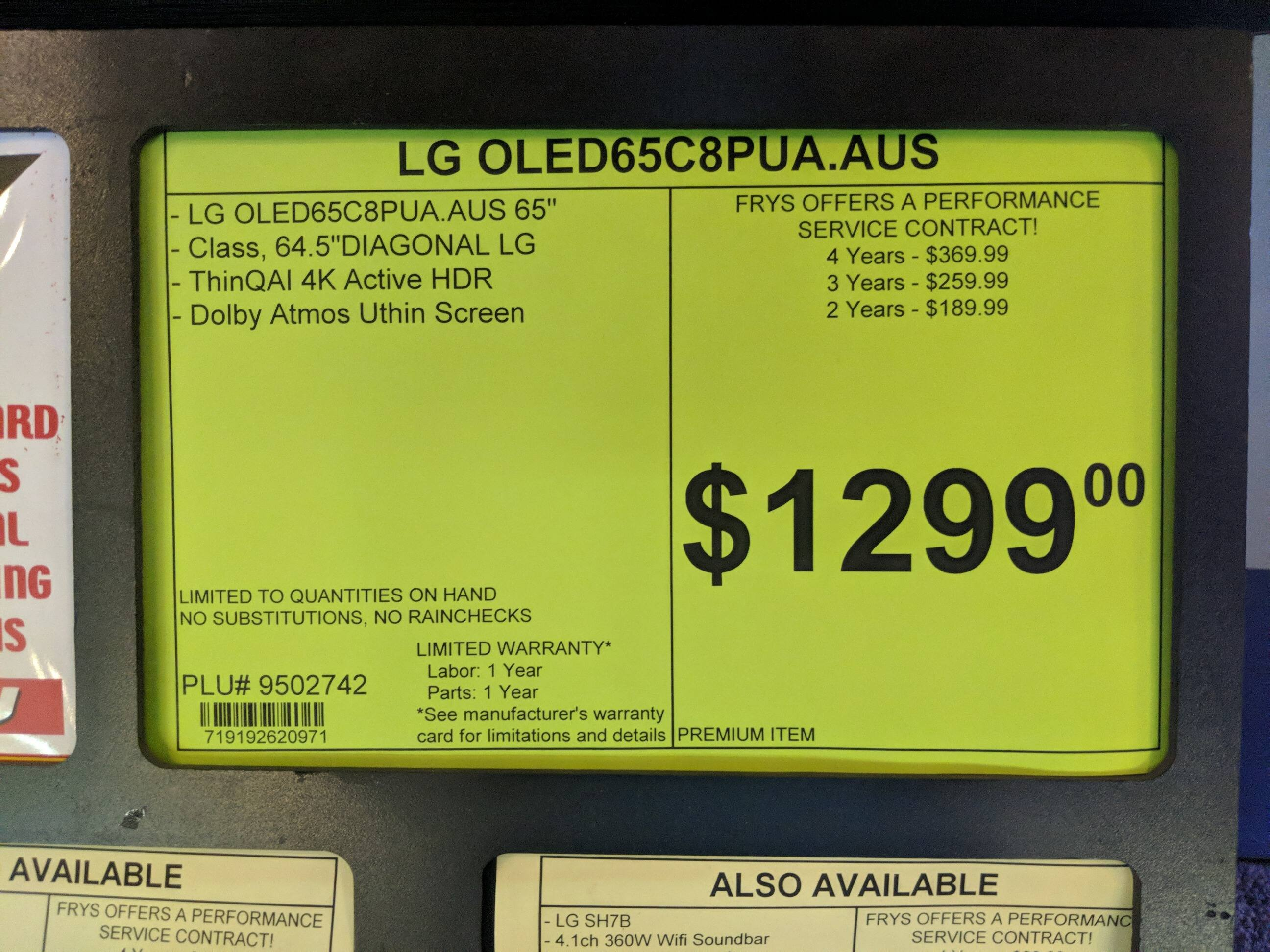 YMMV: Fry's clearance: LG OLED65C8PUA 65 Inch OLED 4K HDTV $1299
