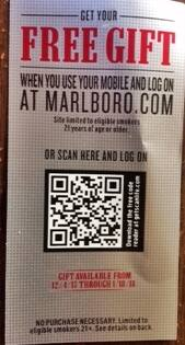 MARLBORO  free gift when logging in using mobile ends 1/18/18