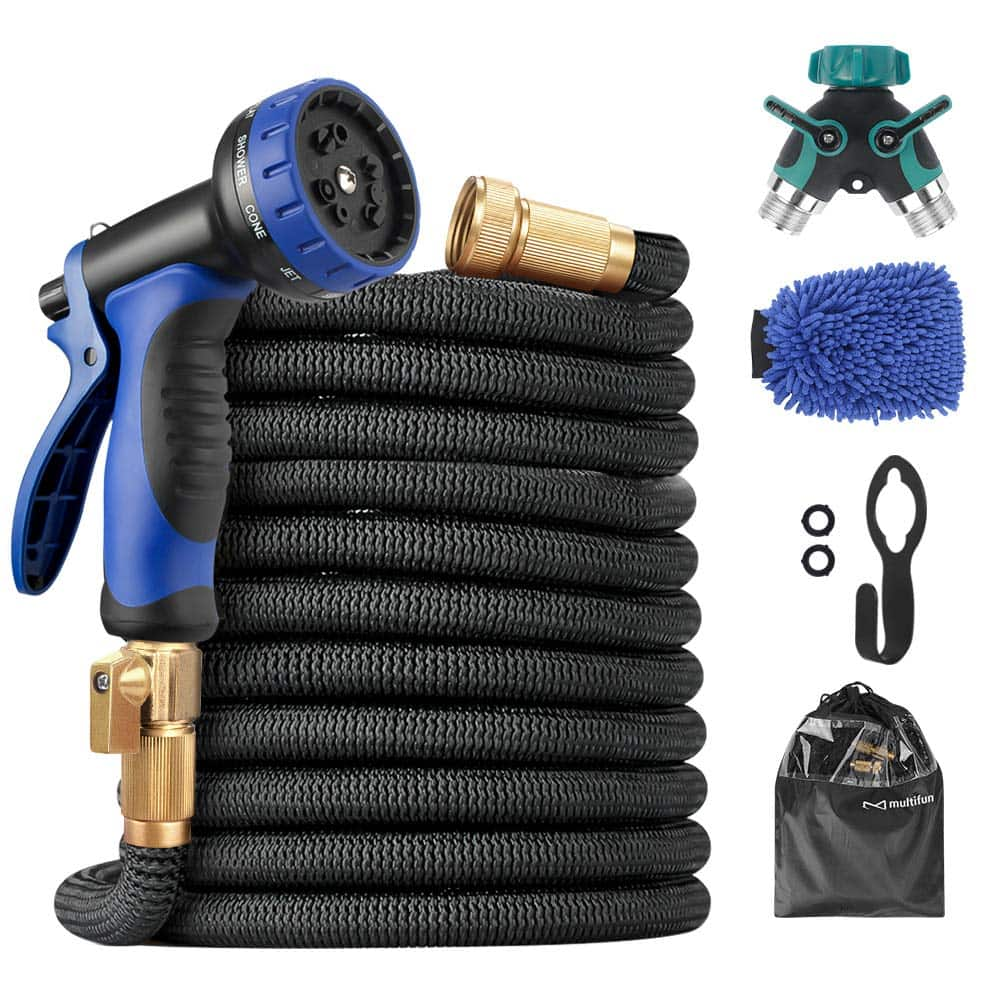 Upgraded Expandable Garden Hose  50ft Water Hose with 10 Function Spray Nozzle and Splitter & Wash Mitt, Flexible Hose with 4 Layers Latex & 3750D Fabric, 3/4 Heavy-Duty $29.99