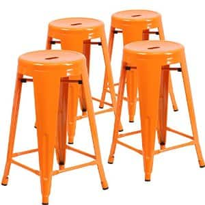 """Flash Furniture Backless Metal Indoor/Outdoor Stool with Round Seat (4 Pack), 24"""", Orange For $42.65 + Free Shipping w/ Prime"""