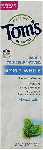 6-Pack 4.7oz Tom's of Maine Simply White Natural Toothpaste, Clean Mint $9.63 or less + free shipping (prime only)