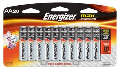Energizer MAX AA Batteries, Designed to Prevent Damaging Leaks (20-Count) For $8.32 @ Amazon