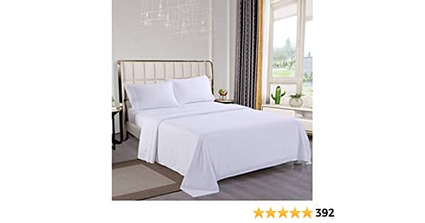 Wonwo Bed Sheet Set White Queen Size Sheets Hotel Luxury Quality Sheets Brushed Microfiber 1800 Thread Count Sheet Set Hypoallergenic 16 inch Deep Pocket, 1 Flat Sheet, 1 Fitted Sh