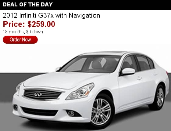18-month lease for 2012 Infiniti G37x nav $0 down $259/month