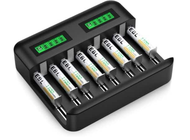 EBL Rechargeable AAA Batteries (8 Counts) with Individual LCD Battery Charger for AA AAA C D Rechargeable Batteries $13.79