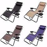 2 x Zero Gravity Patio Chair Recliner w/ Utility Tray $60 FS eBay.com