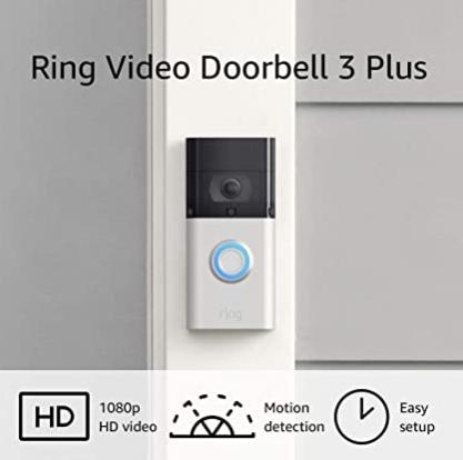 Prime Members via Alexa Voice Shopping: Ring Video Doorbell 3 Plus $129.99