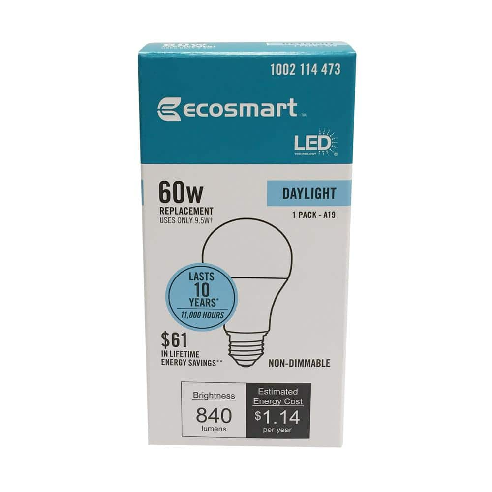 EcoSmart 60-Watt Equivalent A19 Non-Dimmable Basic LED Light Bulb Daylight - YMMV $0.69
