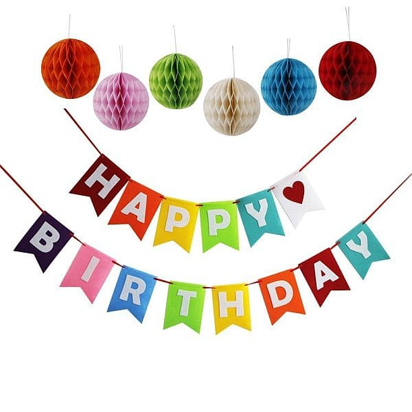 Threemart Happy Birthday Decoration Banner With Colorful Tissue Pom Pom Ball $6.99 AC