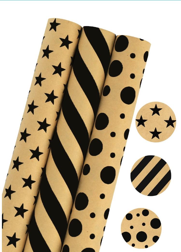 LaRibbons Gift Wrapping Paper - 75 sq ft. - Stars/Stripes/Dots Print - Sold 3Pcs 11.89