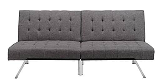 DHP Emily Futon Couch Bed, Modern Sofa Design Includes Sturdy Chrome Legs and Rich Linen Upholstery, Grey  $161.09 + fs