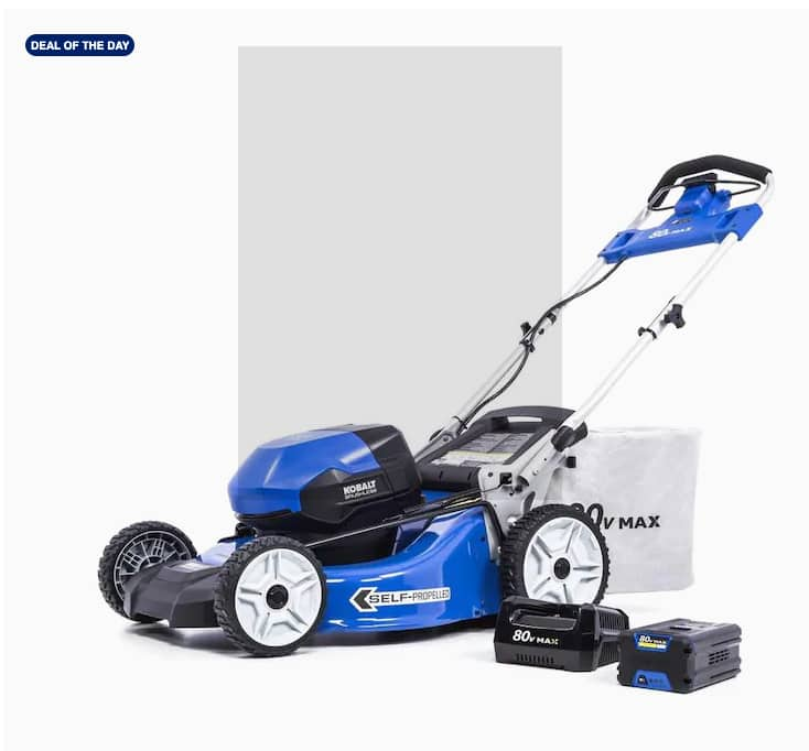 Kobalt 80-Volt Max Brushless 21-in Self-Propelled Cordless Electric Lawn Mower 6 Ah (Battery Included and Charger Included) $449