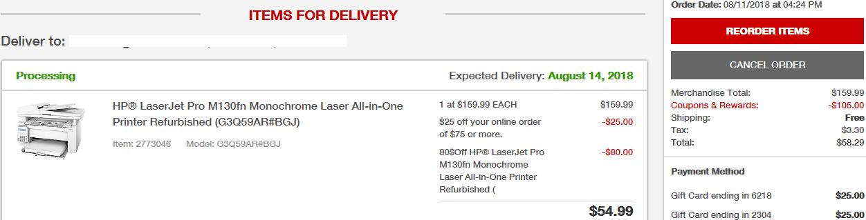 HP® LaserJet Pro M130fn Monochrome Laser All-in-One Printer (Refurb) for $80