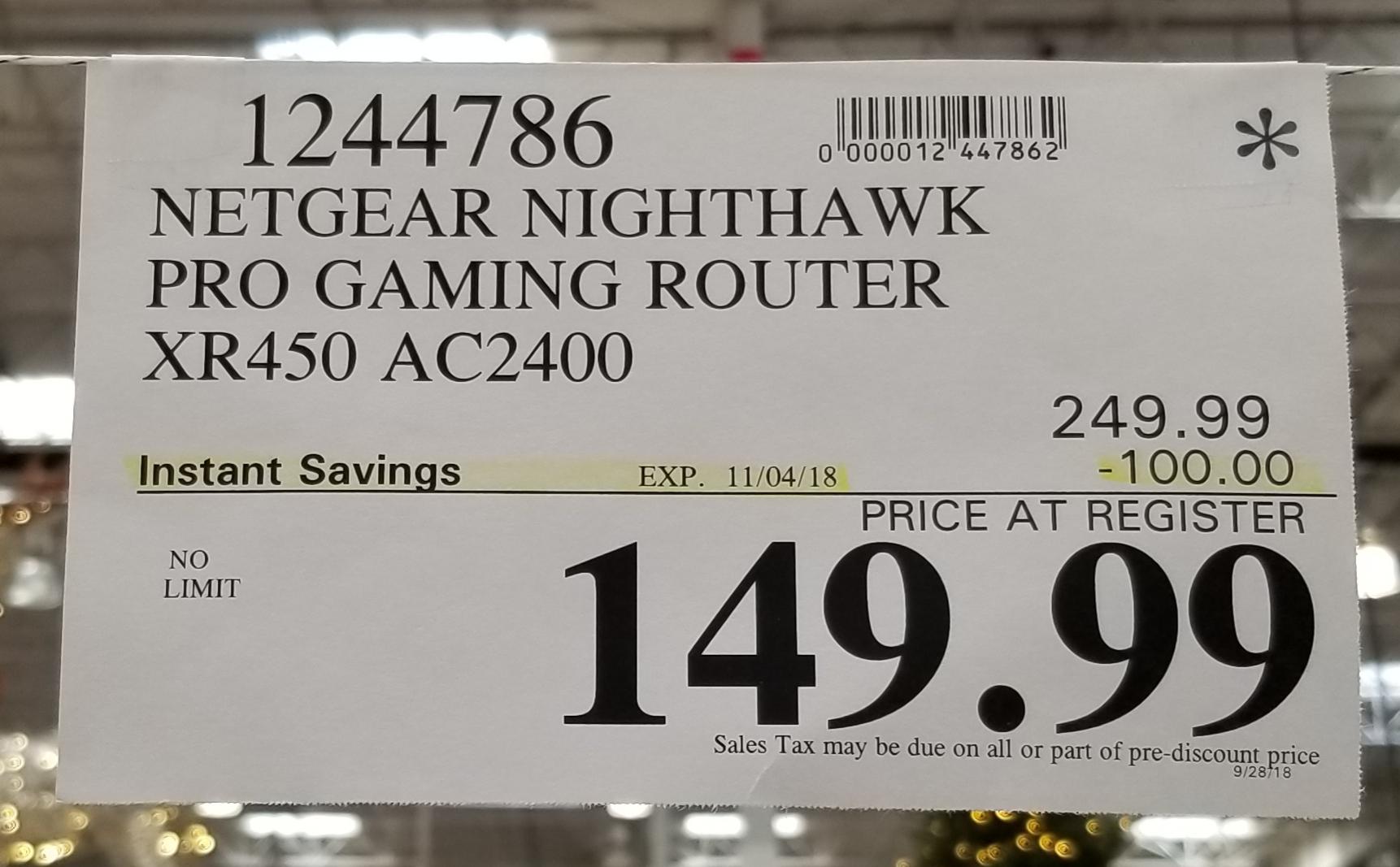 Costco Netgear Nighthawk XR450 Router (B&M) $149 99