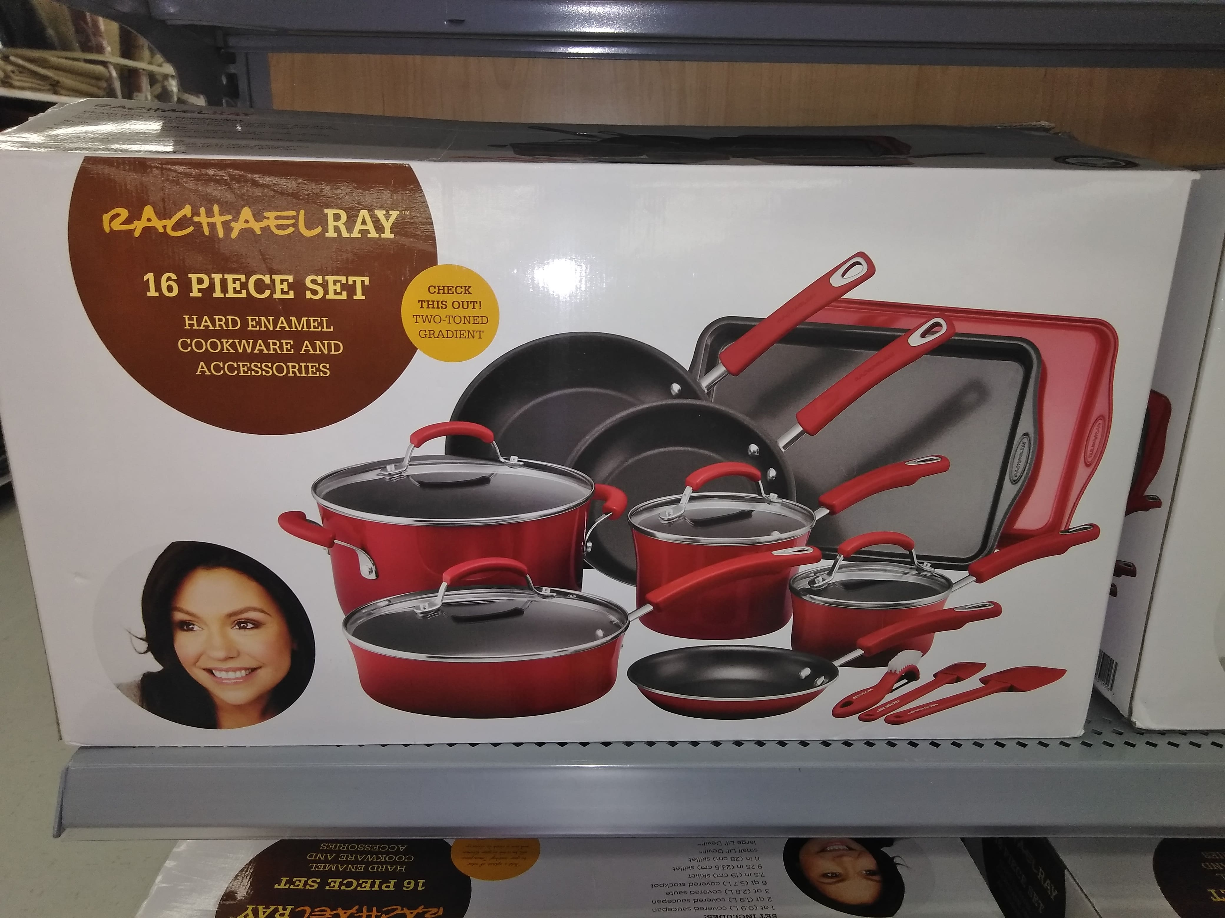 Rachael Ray Hard Enamel Nonstick 16-pc. Cookware Set, Red (Walmart In-Store Only) @ $50