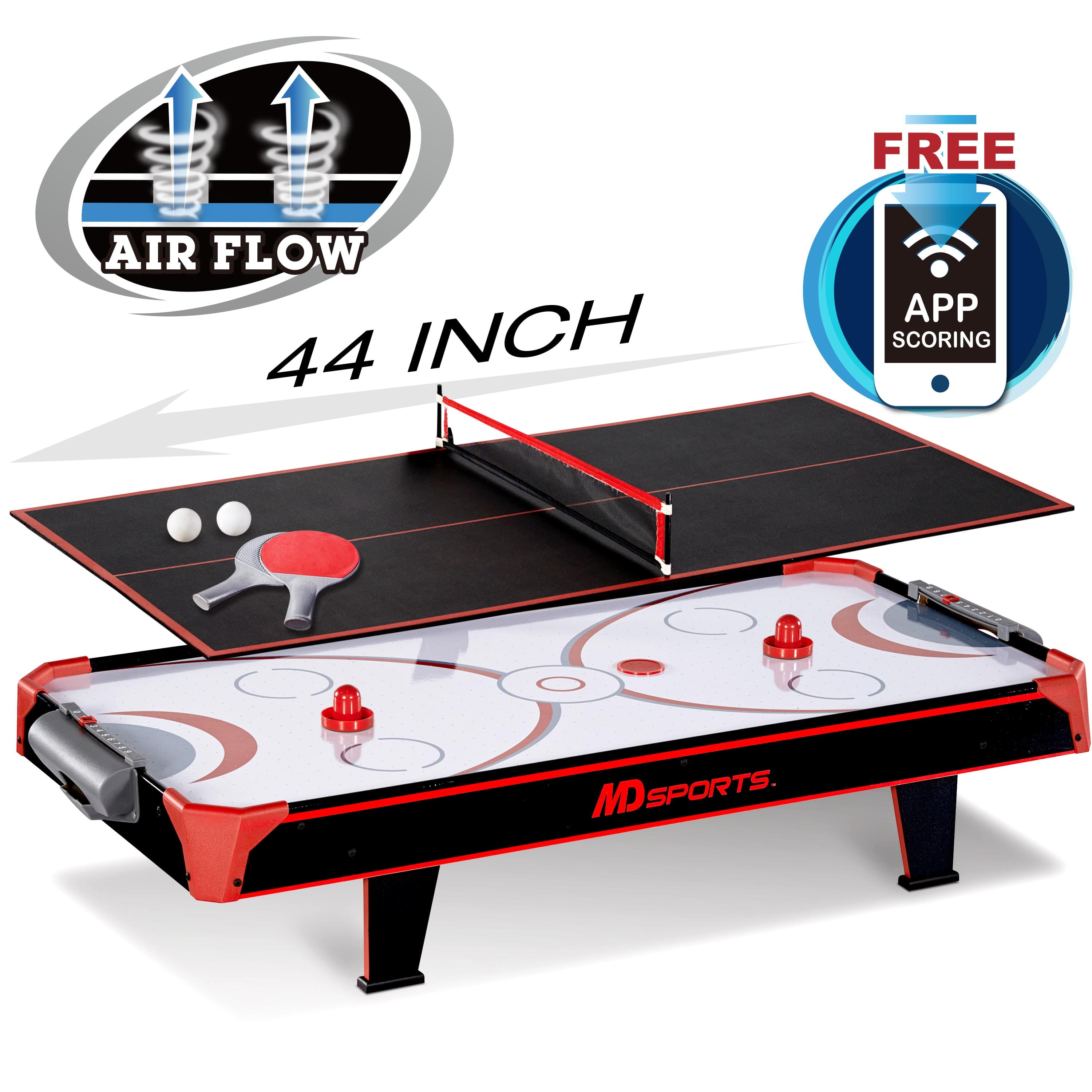 MD Sports 44 inch Air Powered Hockey Table Top with Table Tennis Top with APP Scorer $26.05