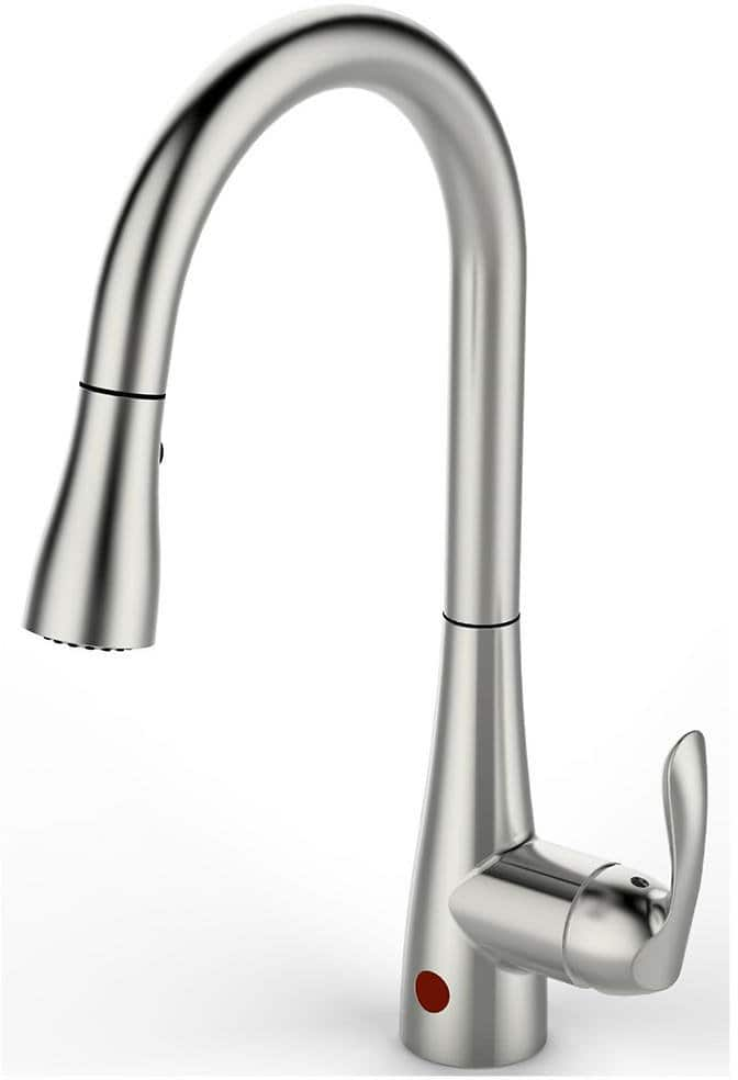 Flow Series Single-Handle Pull-Down Sprayer Kitchen Faucet with Motion Sensor in Brushed Nickel for $129.00 @HomeDebot