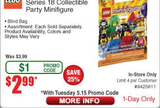 Lego Minifigures Series 18 - Fry's Promo Code - 1 Day Only $2.99