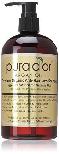 PURA D'OR Anti-Hair Loss Shampoo (Gold Label), 16 Fluid Ounce - $21 or less + Free S/H