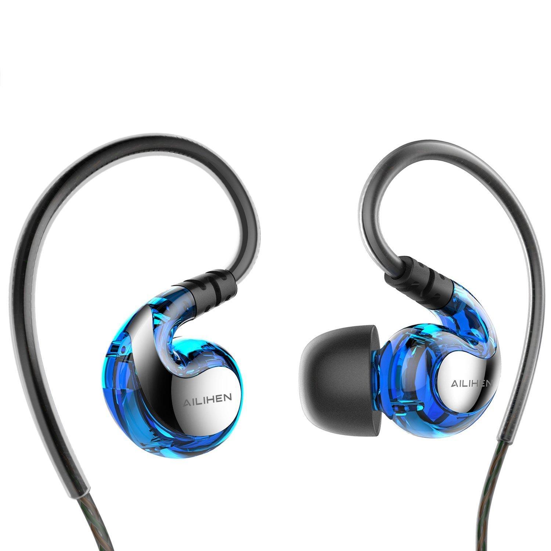 Earphones,AILIHEN SE-01 Sport Sweatproof Earphones Headphones with Microphone for Running Gym,In Ear Earbuds for iPhone iPod iPad Laptop Mac Tablets (Blue) $7.99 (33% off)