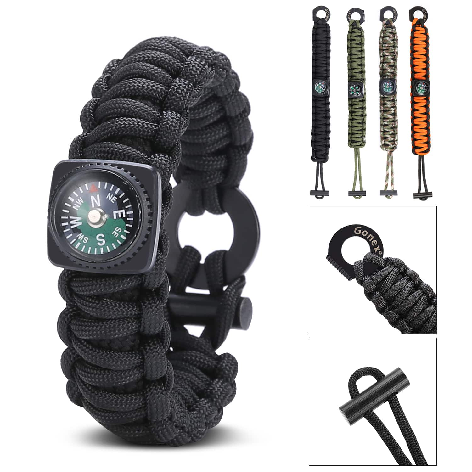 Gonex Paracord 550 Survival Bracelet with Compass, Eye Knife, Fire Starter, Fishing Tool $5.99 | FREE shipping