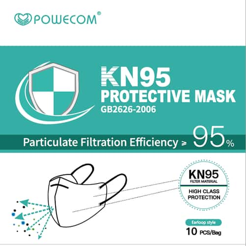 Powecom KN95 masks (on FDA apprv. list as of 06/17)  from Manufacturer Authorized US Distributor $29/10pcs (possible free shipping)