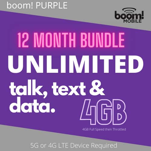 Boom mobile purple annual plan with unlimited talk, text and data with 4GB LTE per month $164